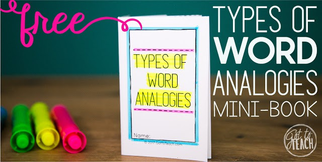 Building vocabulary with word analogies. Free mini-book to help your students identify some of the most common types of word analogies.