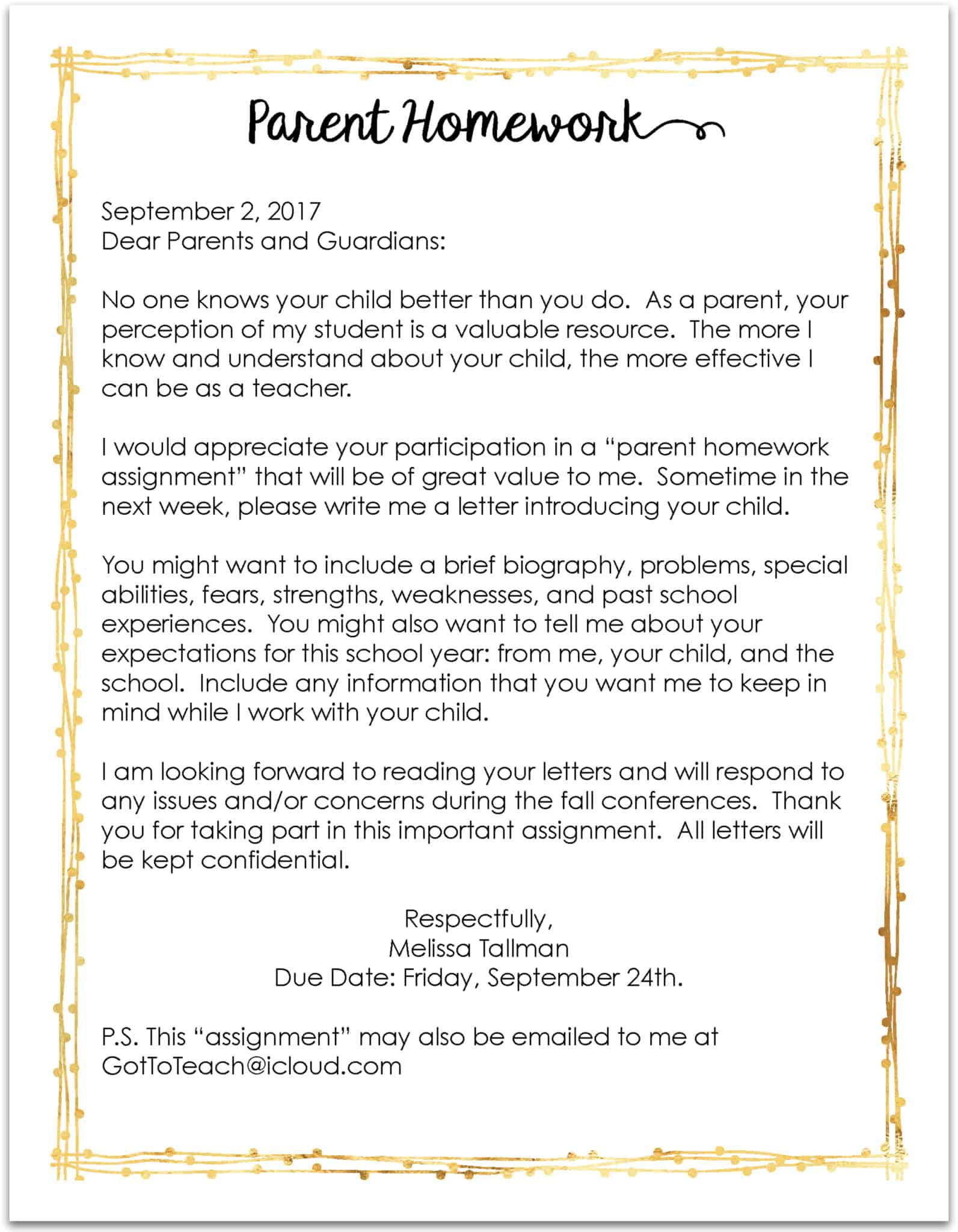 Teachers you must send this letter home on the first day of school i call this letter parent homework which the students get a kick out of before i get into why i think every teacher should send a letter like this home spiritdancerdesigns Images
