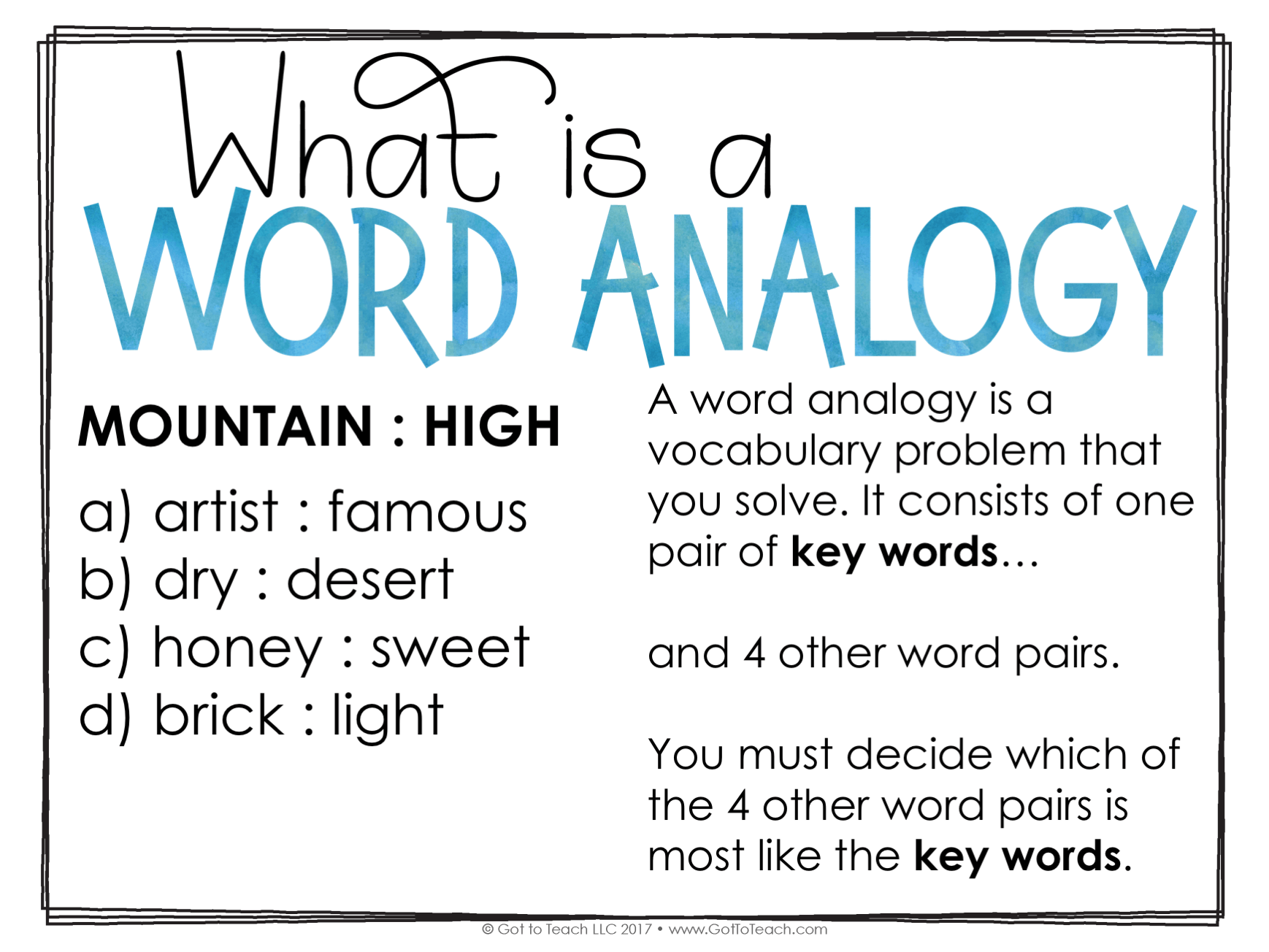 Build Vocabulary with Word Analogies • Got to Teach