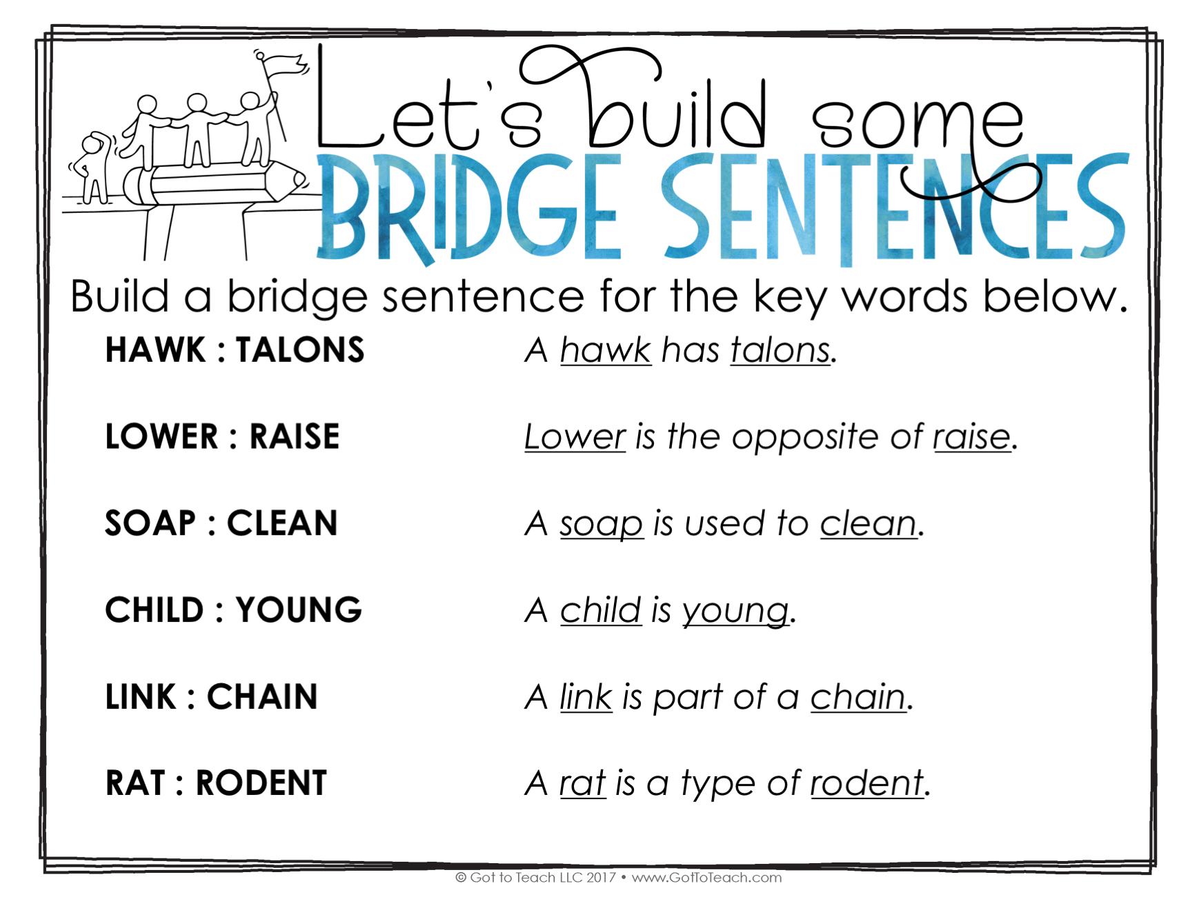 bridge sentence definition