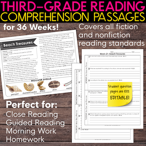 Third grade reading comprehension passages. Nonfiction and fiction.