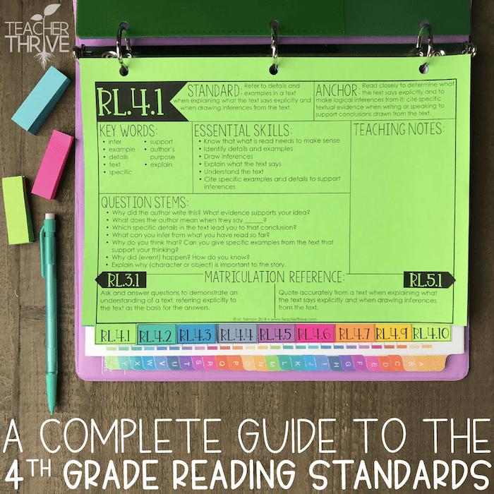 fourth grade reading standards