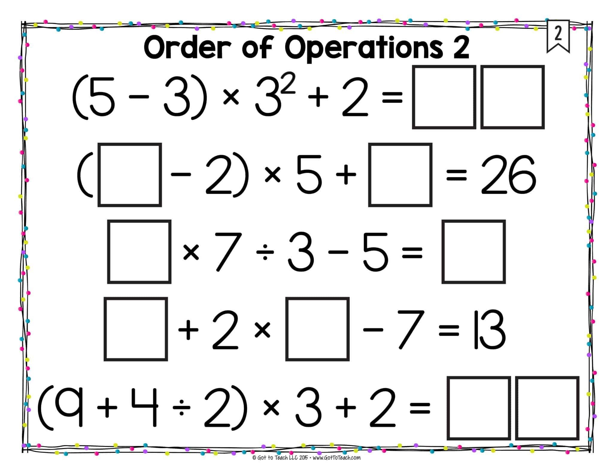 Order of Operations (with Exponents)