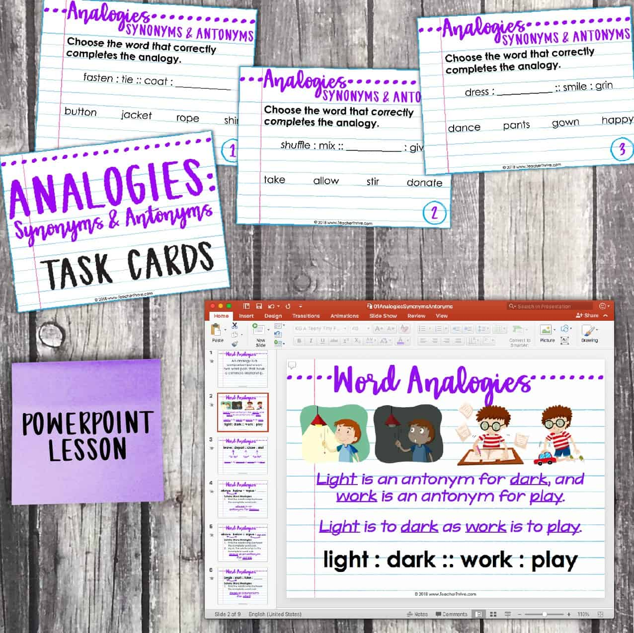 Analogies (Synonyms and Antonyms)