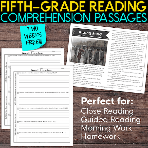 fifth grade reading comprehension