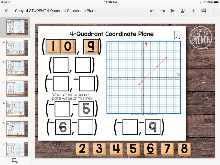 4 -Quadrant Coordinate Plane