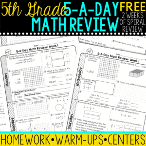 5th grade daily math spiral review