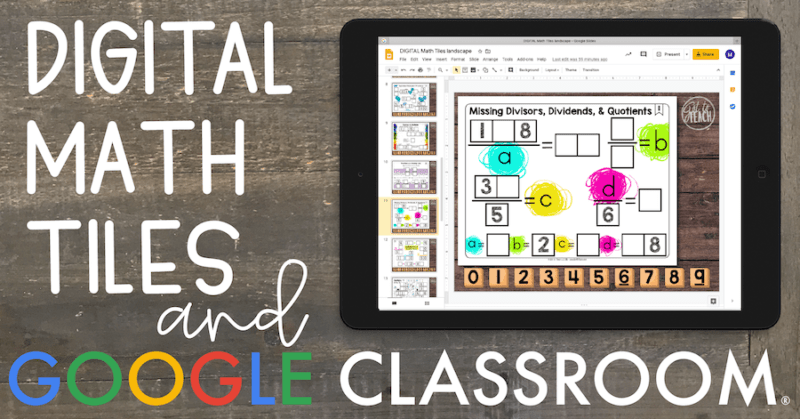 digital math tiles and google classroom