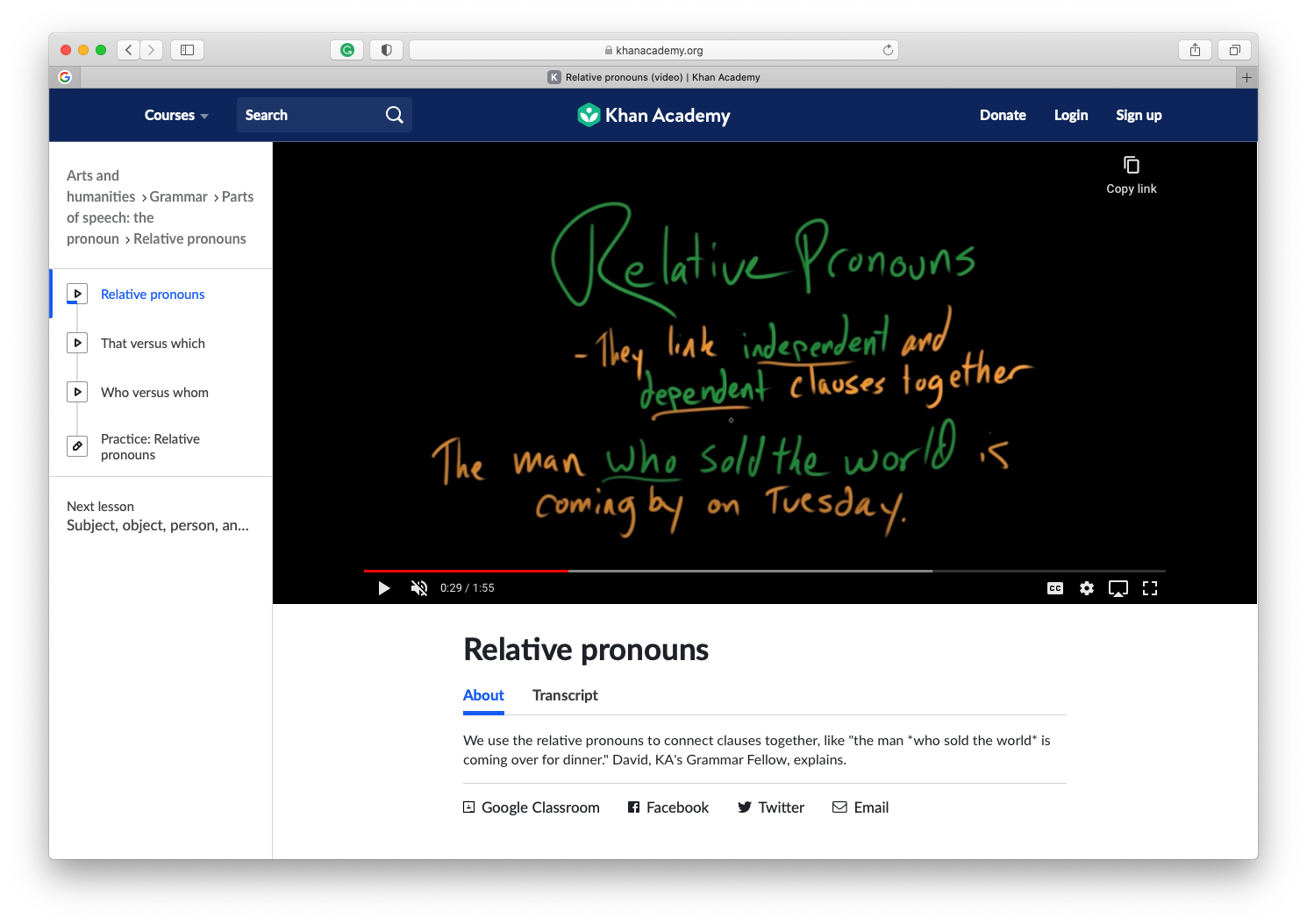 relative pronouns Khan Academy